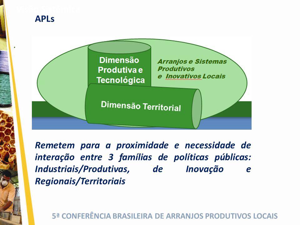 5ª CONFERÊNCIA BRASILEIRA DE ARRANJOS PRODUTIVOS LOCAIS. Visão Sistêmica Remetem para a proximidade e necessidade de interação entre 3 famílias de pol