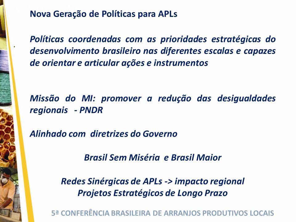5ª CONFERÊNCIA BRASILEIRA DE ARRANJOS PRODUTIVOS LOCAIS. Visão Sistêmica Políticas coordenadas com as prioridades estratégicas do desenvolvimento bras