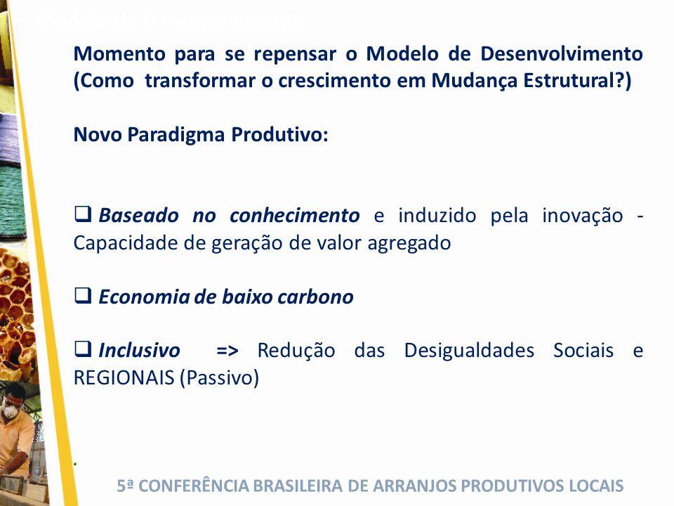5ª CONFERÊNCIA BRASILEIRA DE ARRANJOS PRODUTIVOS LOCAIS O Brasil é um país marcado por uma herança de profundas desigualdades sociais e regionais.