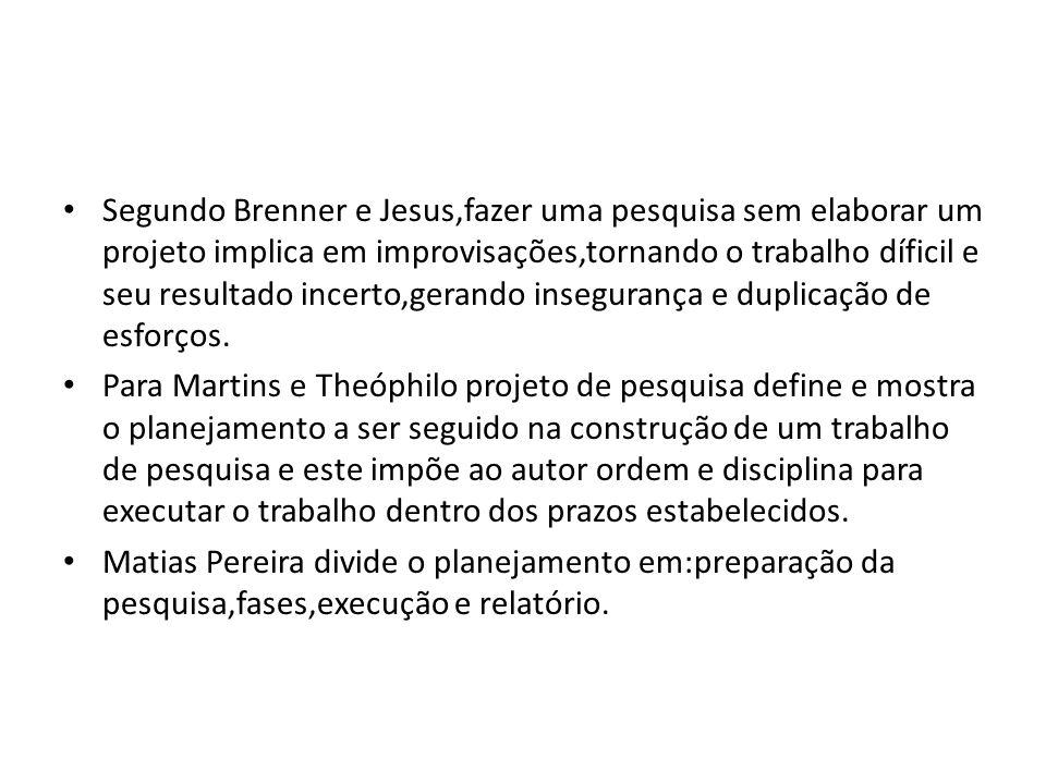 Segundo Brenner e Jesus,fazer uma pesquisa sem elaborar um projeto implica em improvisações,tornando o trabalho díficil e seu resultado incerto,gerand
