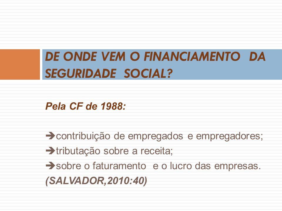 Pela CF de 1988: contribuição de empregados e empregadores; tributação sobre a receita; sobre o faturamento e o lucro das empresas.