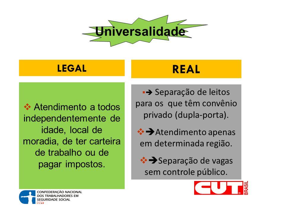 Universalidade LEGAL REAL Atendimento a todos independentemente de idade, local de moradia, de ter carteira de trabalho ou de pagar impostos.