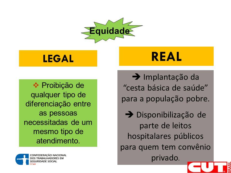 Equidade LEGAL REAL Proibição de qualquer tipo de diferenciação entre as pessoas necessitadas de um mesmo tipo de atendimento.