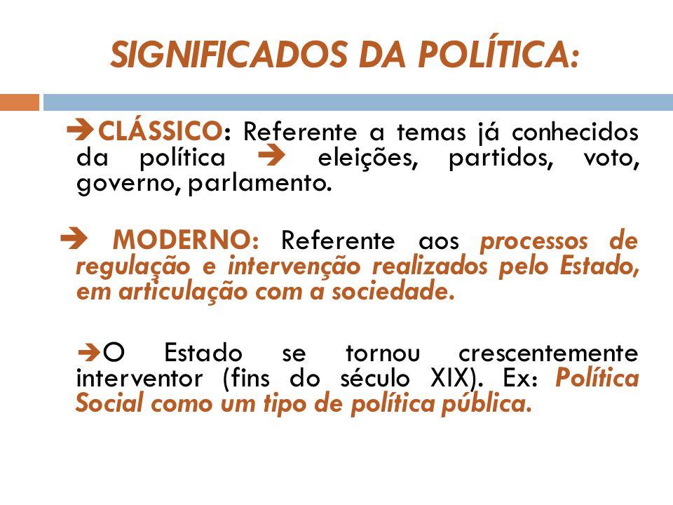 SIGNIFICADOS DA POLÍTICA: CLÁSSICO: Referente a temas já conhecidos da política eleições, partidos, voto, governo, parlamento.
