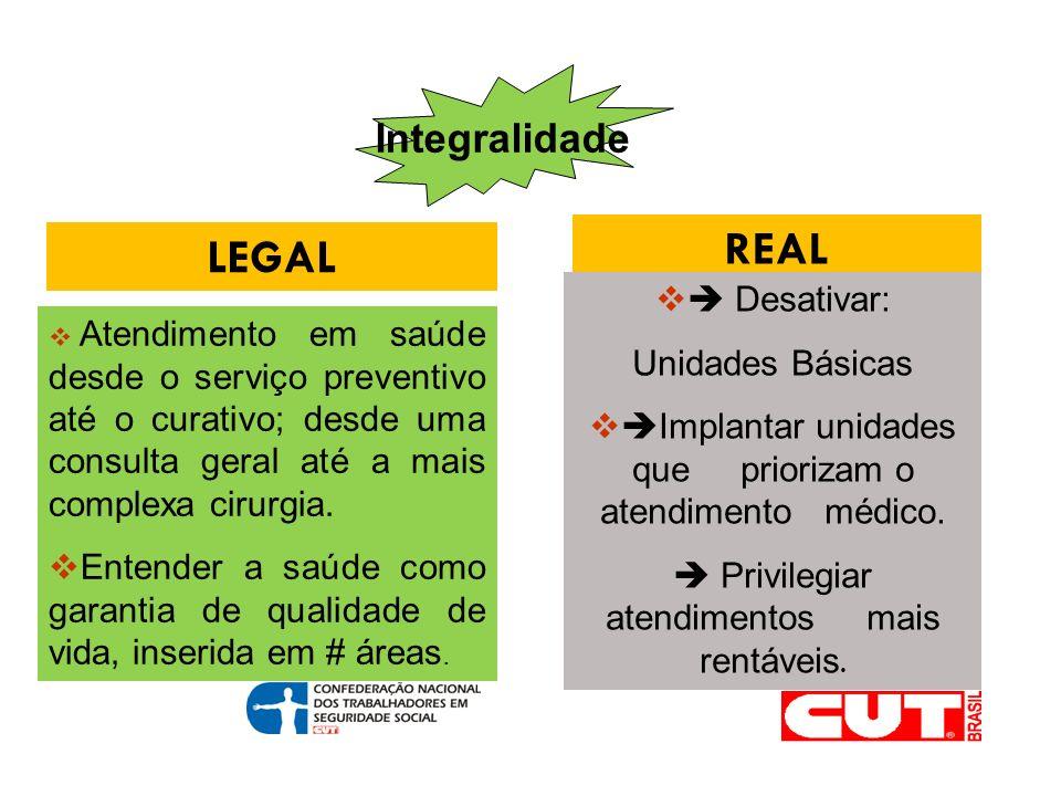 Integralidade LEGAL REAL Atendimento em saúde desde o serviço preventivo até o curativo; desde uma consulta geral até a mais complexa cirurgia.