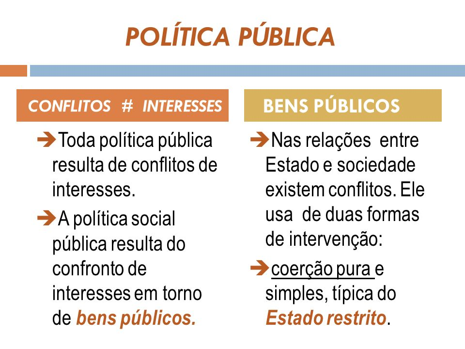 POLÍTICA PÚBLICA O Estado busca ganhar a sociedade pelo consenso, pelo convencimento.