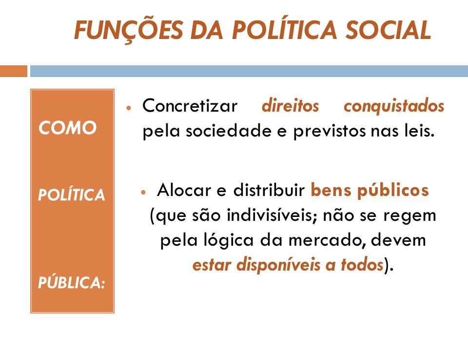 SEGURIDADE SOCIAL = POLÍTICA SOCIAL PÚBLICA A concepção de Seguridade Social proteção social.