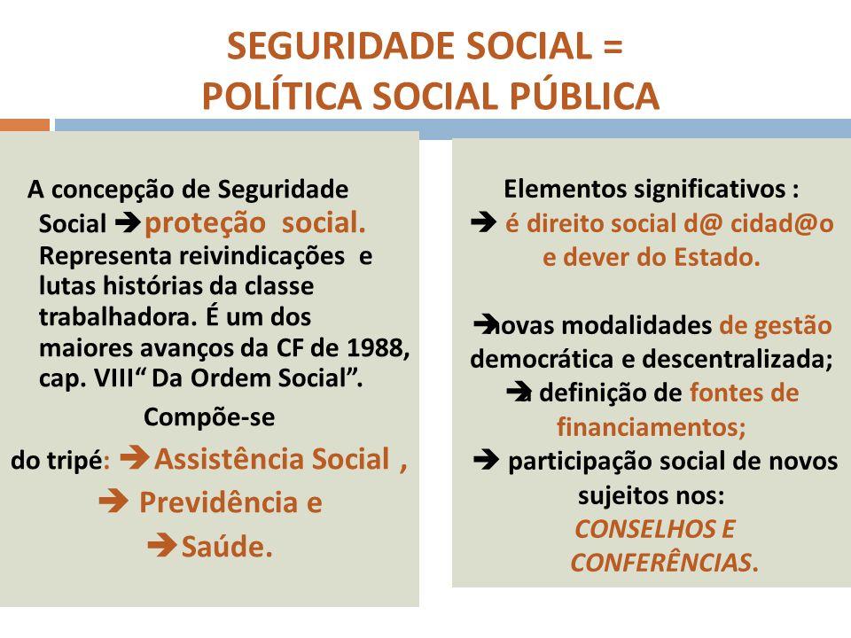é uma POLÍTICA SOCIAL PÚBLICA, como conjunto integrado de ações, dever do Estado brasileiro e direito da POPULAÇÃO a uma proteção universal, democrática, distributiva e não estigmatizadora.