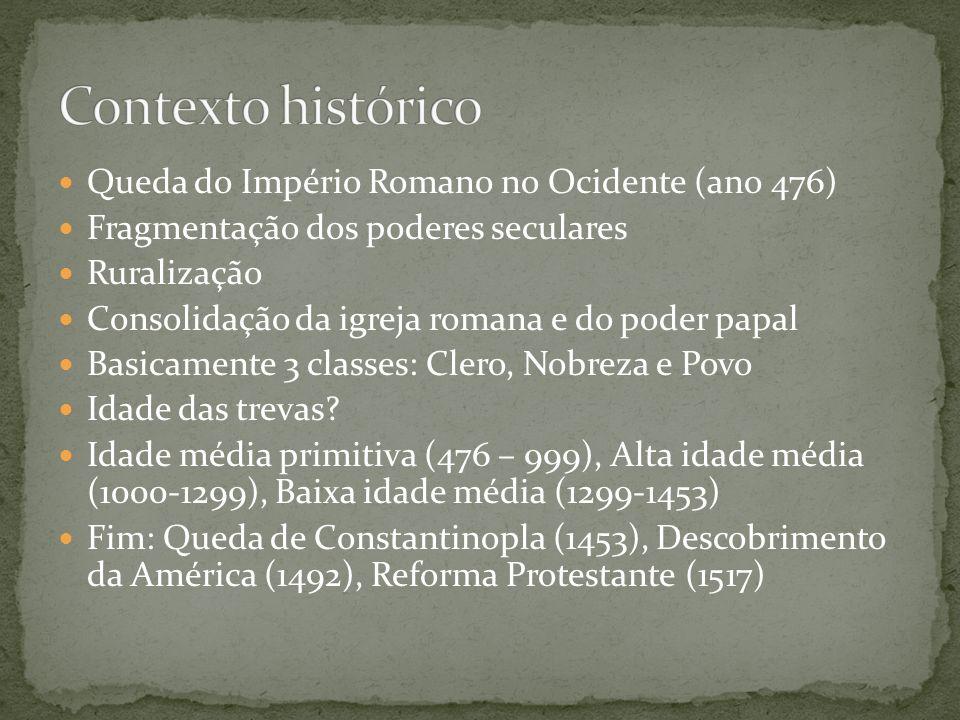 Monasticismo Misticismo Cismas da Igreja Cruzadas Templários e Hospitalários Reforma Gregoriana Escolasticismo Inquisição