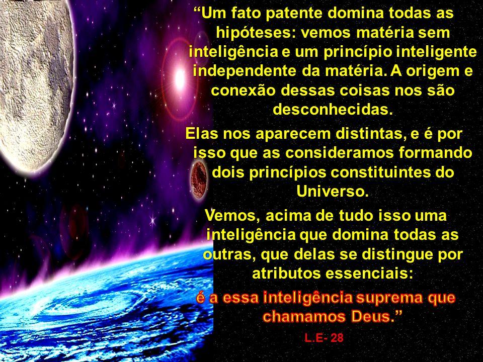 DEUS PRINCÍPIO ESPIRITUAL ( espírito) ESPÍRITO PRINCÍPIO MATERIAL (FCU) MATÉRIA Deus, de quem se originou o Universo, criou o espírito e o Fluido Cósm