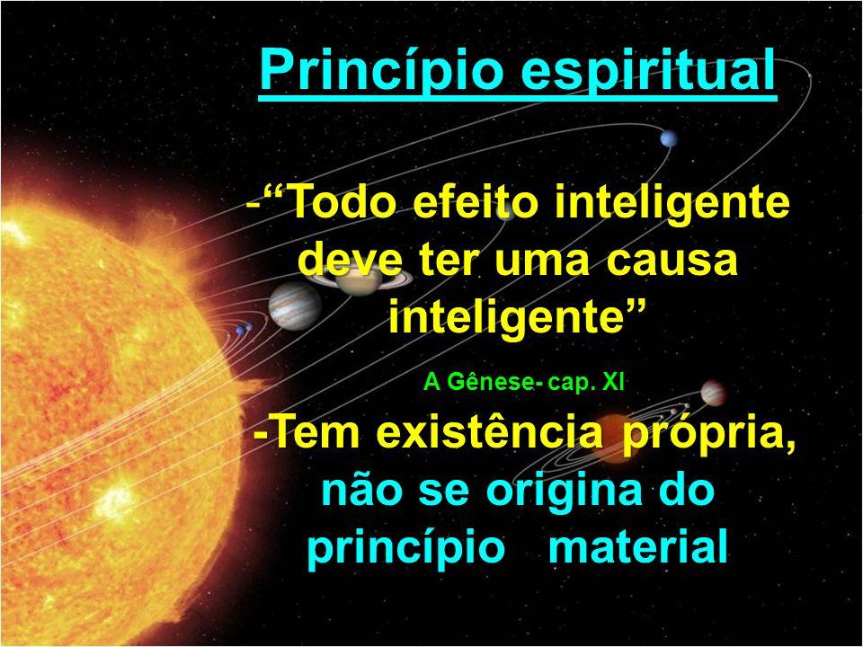 Princípio espiritual -Todo efeito inteligente deve ter uma causa inteligente A Gênese- cap.