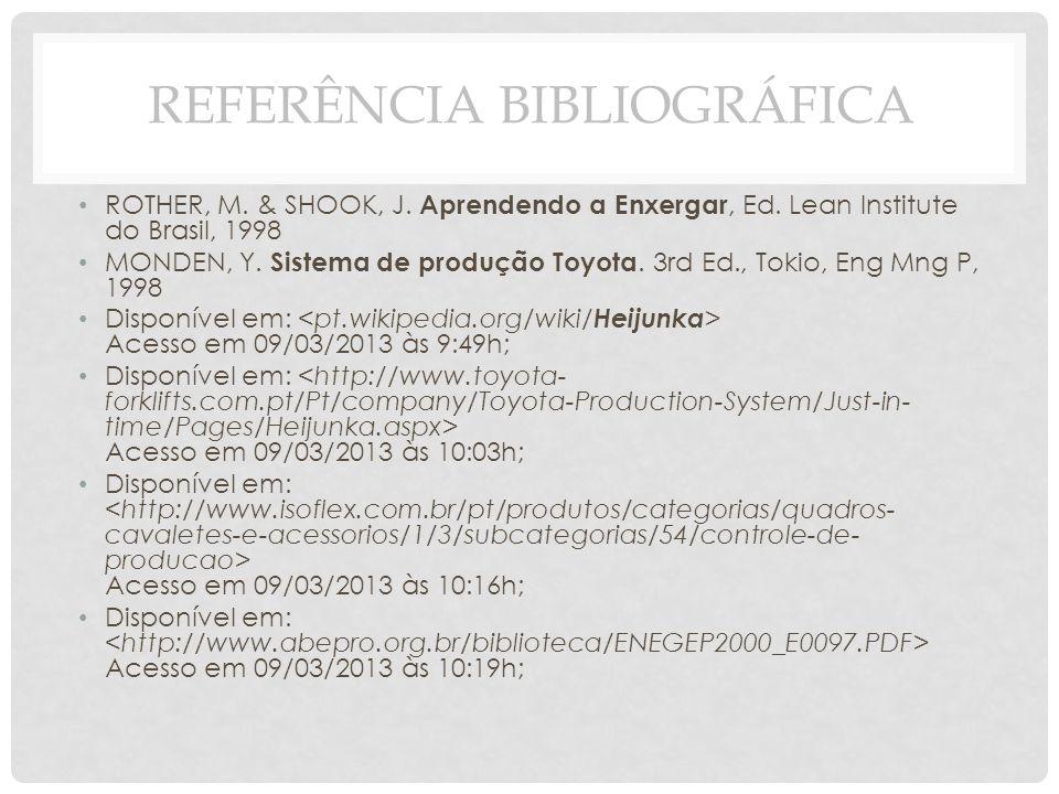 ROTHER, M. & SHOOK, J. Aprendendo a Enxergar, Ed. Lean Institute do Brasil, 1998 MONDEN, Y. Sistema de produção Toyota. 3rd Ed., Tokio, Eng Mng P, 199