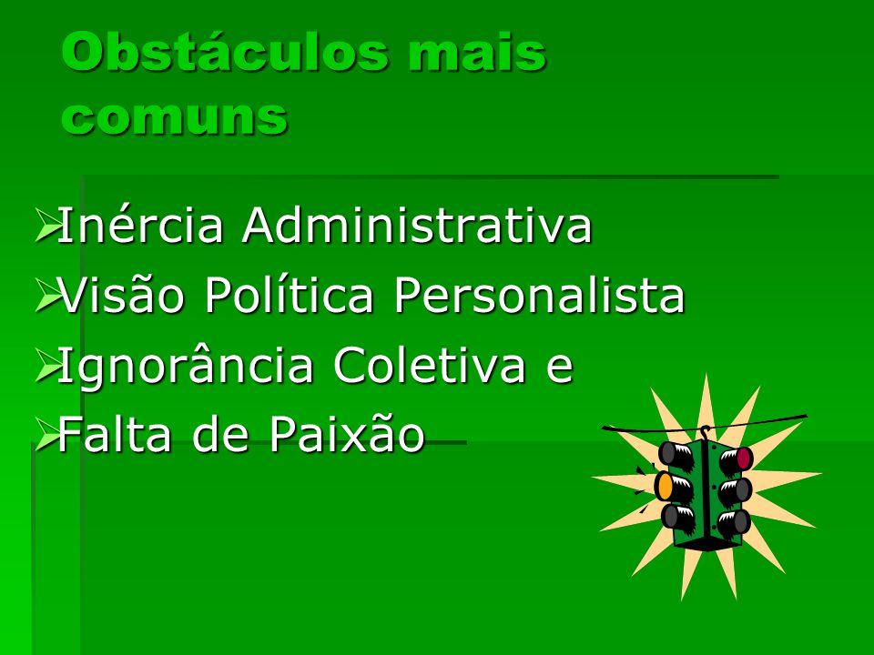 Obstáculos mais comuns Inércia Administrativa Inércia Administrativa Visão Política Personalista Visão Política Personalista Ignorância Coletiva e Ign