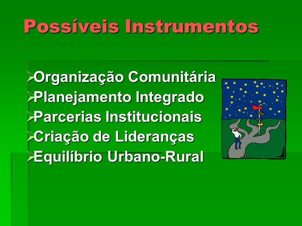 Possíveis Instrumentos Organização Comunitária Organização Comunitária Planejamento Integrado Planejamento Integrado Parcerias Institucionais Parceria