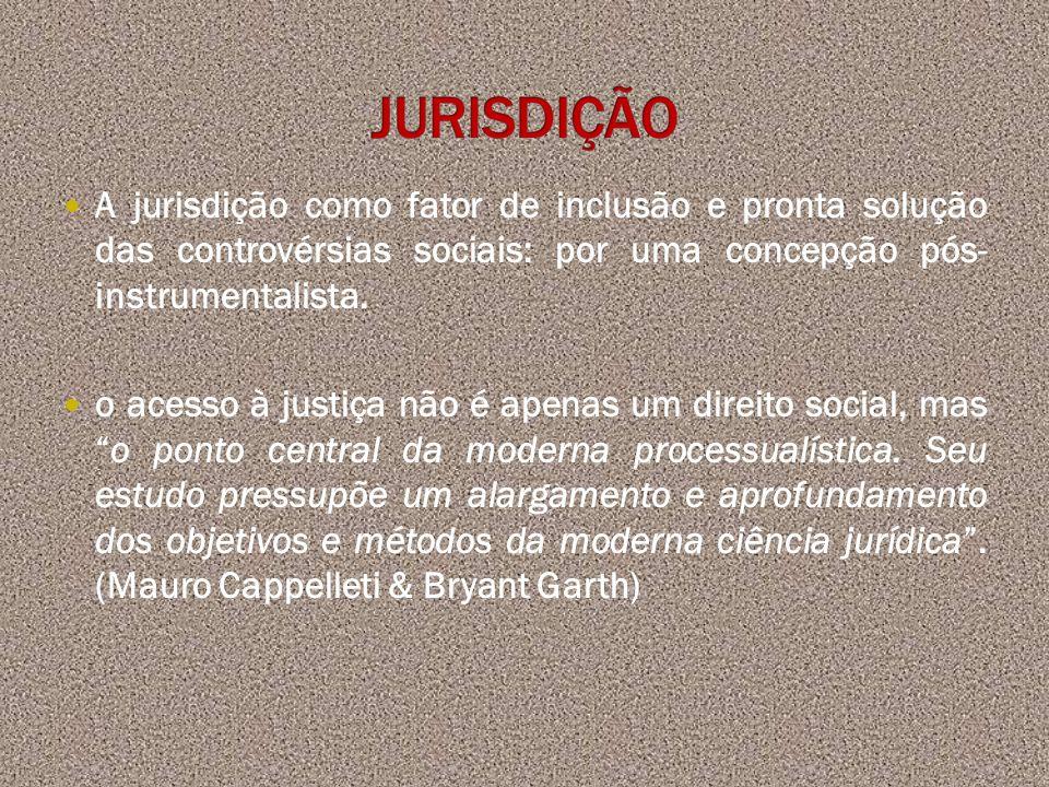 A jurisdição como fator de inclusão e pronta solução das controvérsias sociais: por uma concepção pós- instrumentalista. o acesso à justiça não é apen