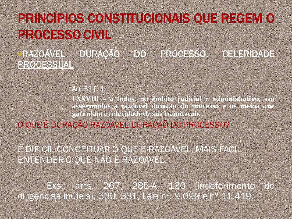 RAZOÁVEL DURAÇÃO DO PROCESSO, CELERIDADE PROCESSUAL Art. 5º. [...] LXXVIII – a todos, no âmbito judicial e administrativo, são assegurados a razoável