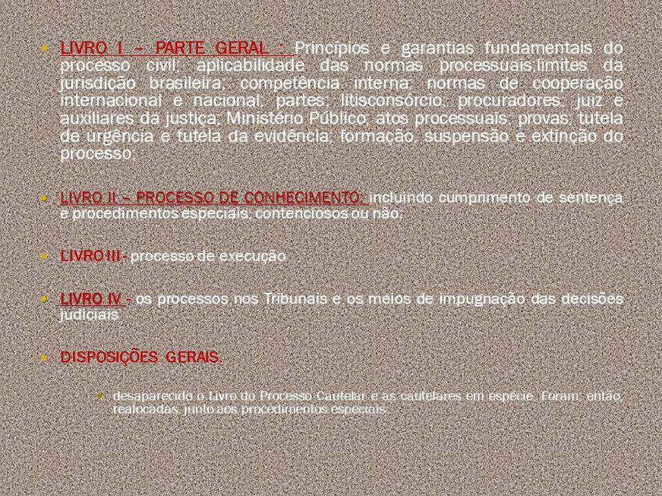 LIVRO I – PARTE GERAL : Princípios e garantias fundamentais do processo civil; aplicabilidade das normas processuais;limites da jurisdição brasileira;