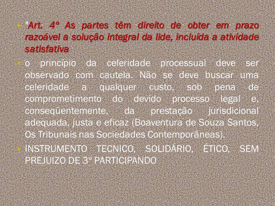 Art. 4º As partes têm direito de obter em prazo razoável a solução integral da lide, incluída a atividade satisfativa