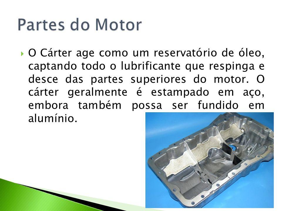 O Cárter age como um reservatório de óleo, captando todo o lubrificante que respinga e desce das partes superiores do motor. O cárter geralmente é est