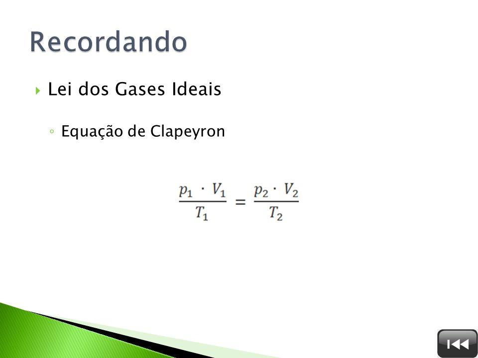 Lei dos Gases Ideais Equação de Clapeyron