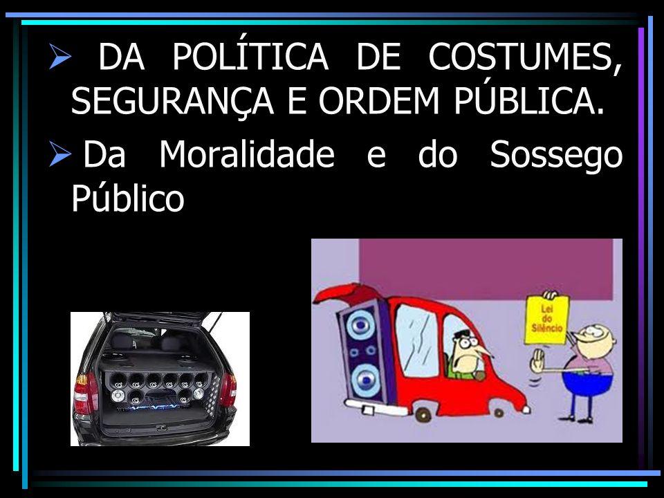 DA POLÍTICA DE COSTUMES, SEGURANÇA E ORDEM PÚBLICA. Da Moralidade e do Sossego Público