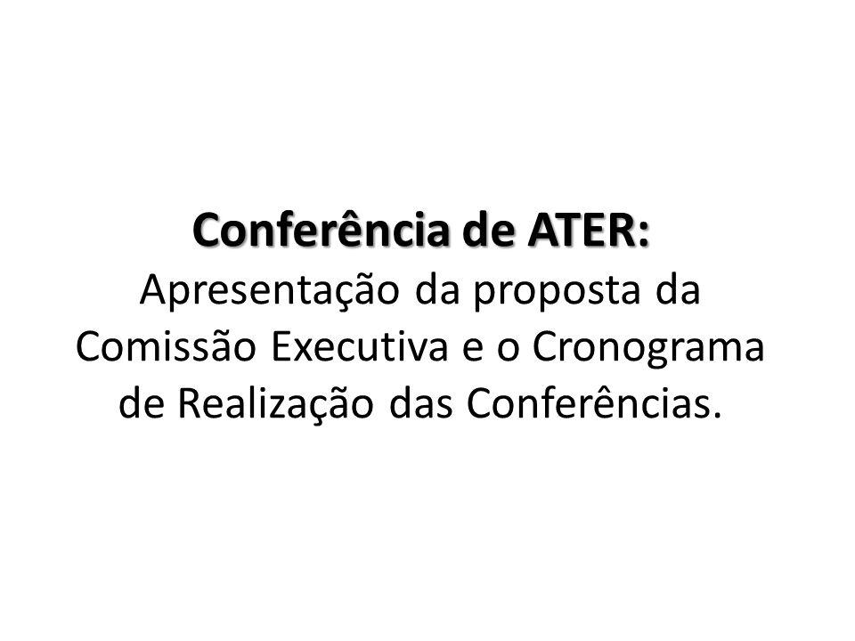Conferência de ATER: Conferência de ATER: Apresentação da proposta da Comissão Executiva e o Cronograma de Realização das Conferências.