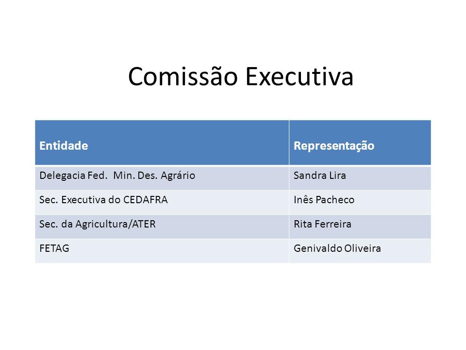 Comissão Executiva EntidadeRepresentação Delegacia Fed. Min. Des. AgrárioSandra Lira Sec. Executiva do CEDAFRAInês Pacheco Sec. da Agricultura/ATERRit