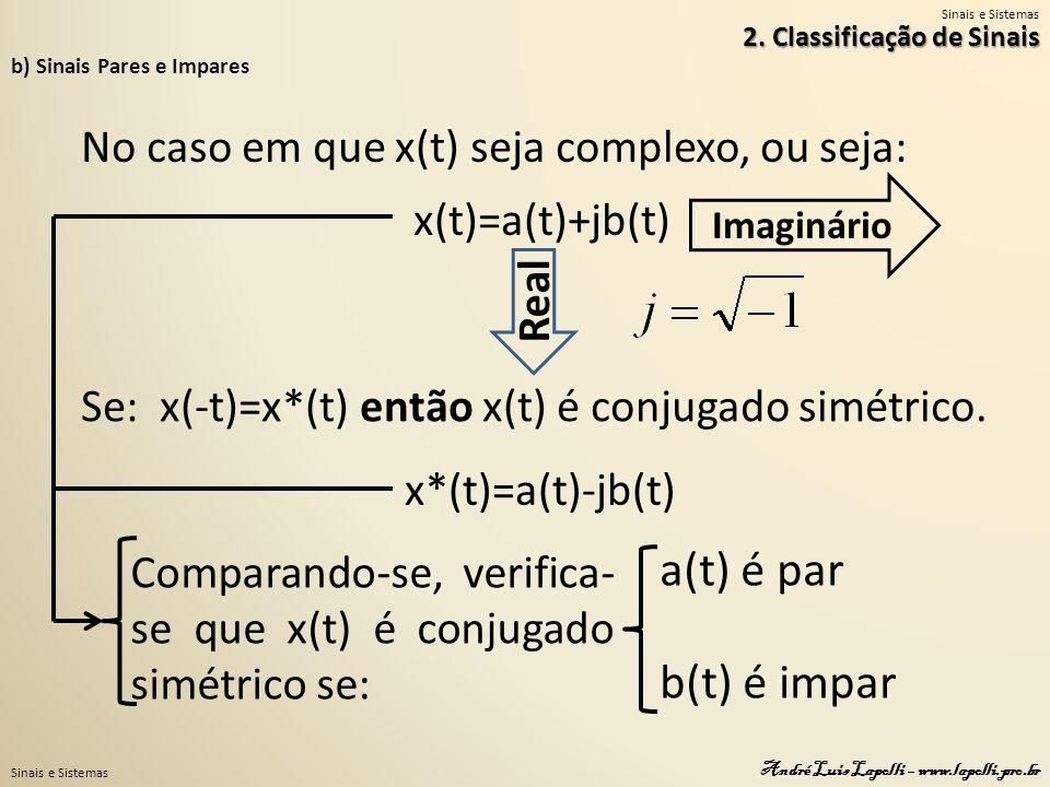 Sinais e Sistemas André Luis Lapolli – www.lapolli.pro.br b) Sinais Pares e Impares No caso em que x(t) seja complexo, ou seja: x(t)=a(t)+jb(t) Real Imaginário Se: x(-t)=x*(t) então x(t) é conjugado simétrico.