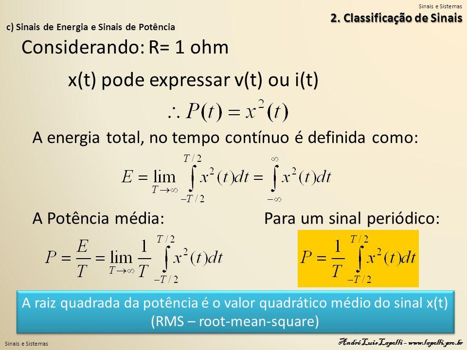 Sinais e Sistemas André Luis Lapolli – www.lapolli.pro.br c) Sinais de Energia e Sinais de Potência 2. Classificação de Sinais Considerando: R= 1 ohm