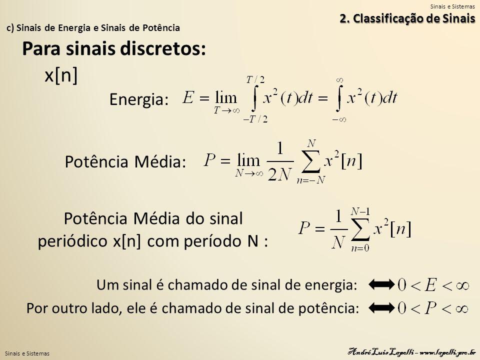 Sinais e Sistemas André Luis Lapolli – www.lapolli.pro.br c) Sinais de Energia e Sinais de Potência 2. Classificação de Sinais Para sinais discretos: