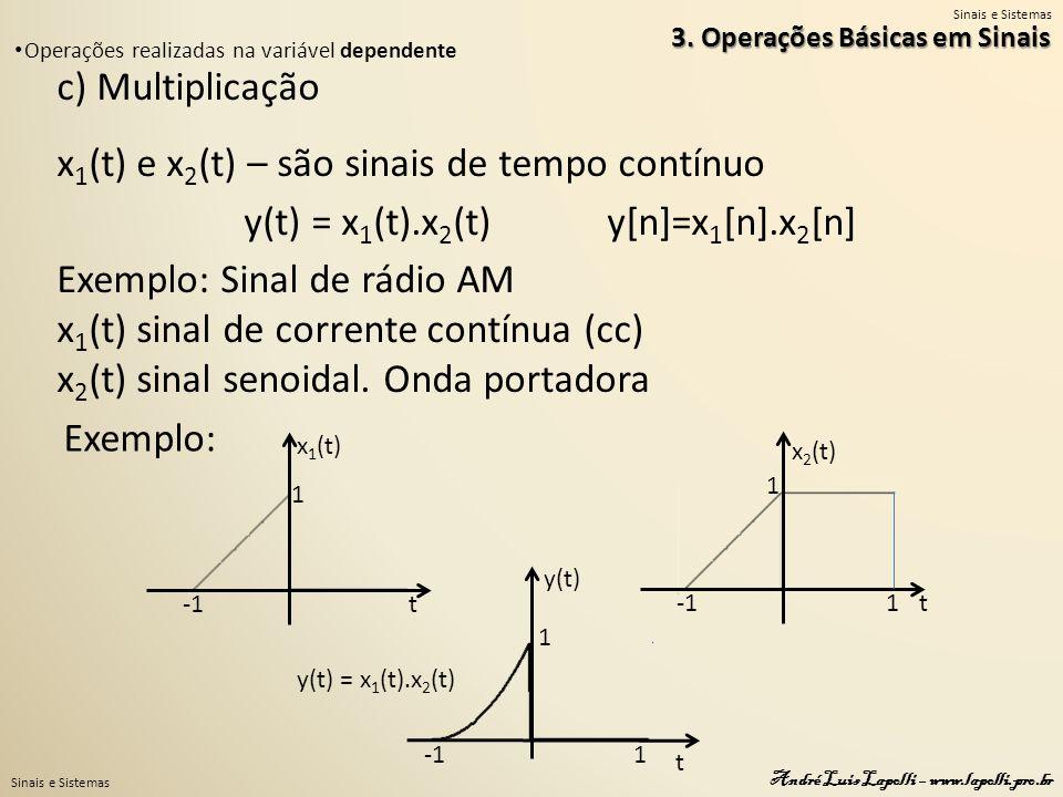 Sinais e Sistemas André Luis Lapolli – www.lapolli.pro.br c) Multiplicação x 1 (t) e x 2 (t) – são sinais de tempo contínuo y(t) = x 1 (t).x 2 (t) y[n]=x 1 [n].x 2 [n] Exemplo: Sinal de rádio AM x 1 (t) sinal de corrente contínua (cc) x 2 (t) sinal senoidal.