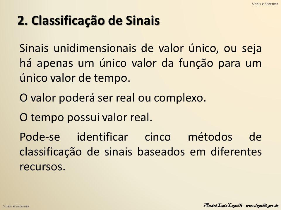 Sinais e Sistemas André Luis Lapolli – www.lapolli.pro.br 2. Classificação de Sinais Sinais unidimensionais de valor único, ou seja há apenas um único