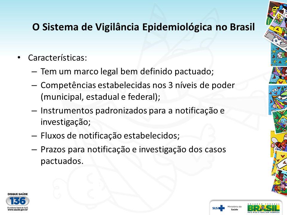 O Sistema de Vigilância Epidemiológica no Brasil Características: – Tem um marco legal bem definido pactuado; – Competências estabelecidas nos 3 nívei