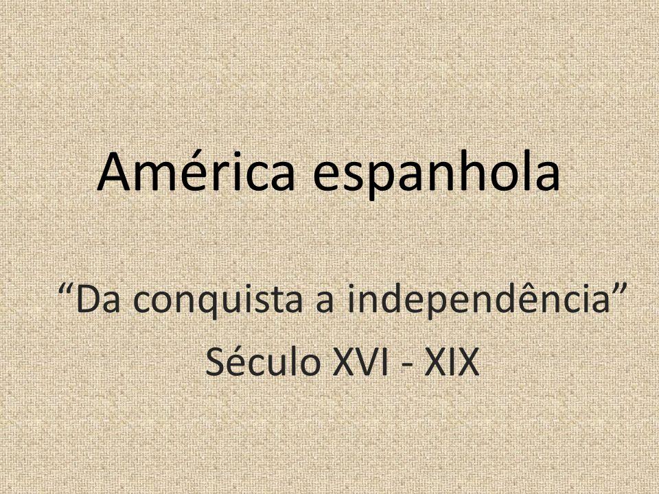 América espanhola Da conquista a independência Século XVI - XIX