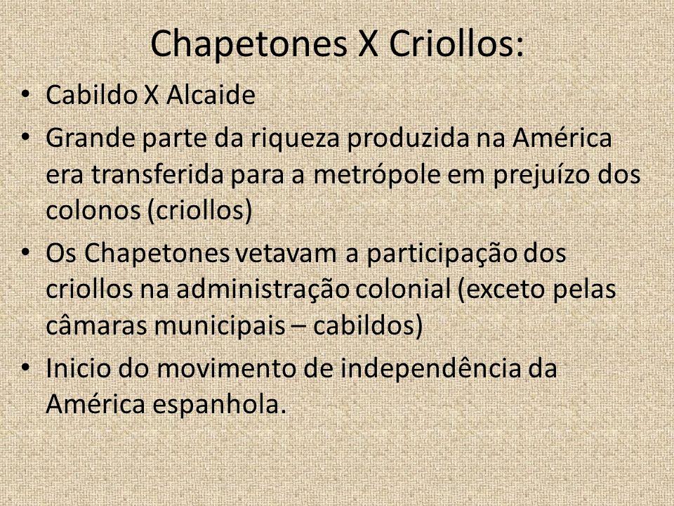 Chapetones X Criollos: Cabildo X Alcaide Grande parte da riqueza produzida na América era transferida para a metrópole em prejuízo dos colonos (crioll