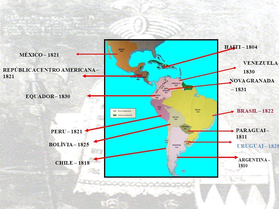 MÉXICO – 1821 REPÚBLICA CENTRO AMERICANA – 1821 EQUADOR – 1830 PERU – 1821 VENEZUELA – 1830 HAITI – 1804 NOVA GRANADA – 1831 BOLÍVIA – 1825 CHILE – 18