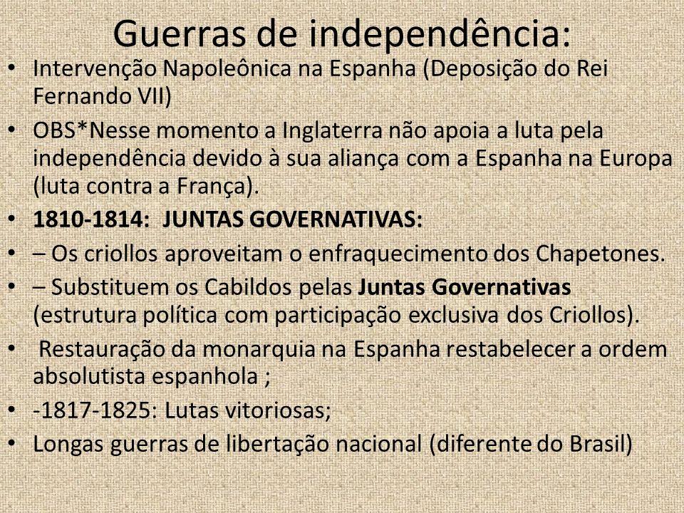 Guerras de independência: Intervenção Napoleônica na Espanha (Deposição do Rei Fernando VII) OBS*Nesse momento a Inglaterra não apoia a luta pela inde
