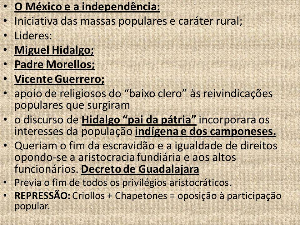 O México e a independência: Iniciativa das massas populares e caráter rural; Lideres: Miguel Hidalgo; Padre Morellos; Vicente Guerrero; apoio de relig