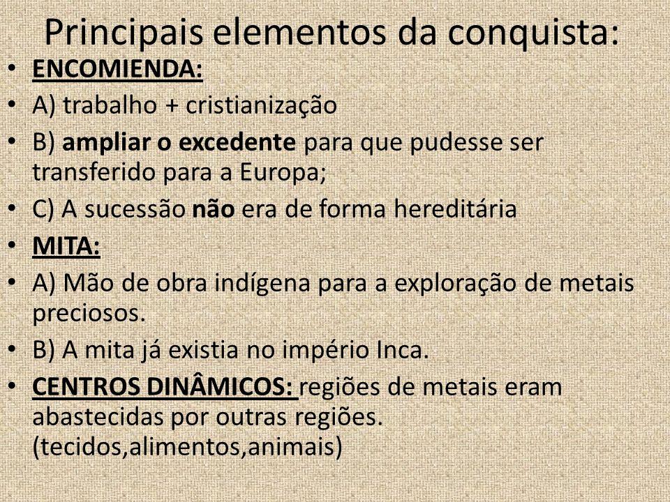 Principais elementos da conquista: ENCOMIENDA: A) trabalho + cristianização B) ampliar o excedente para que pudesse ser transferido para a Europa; C)