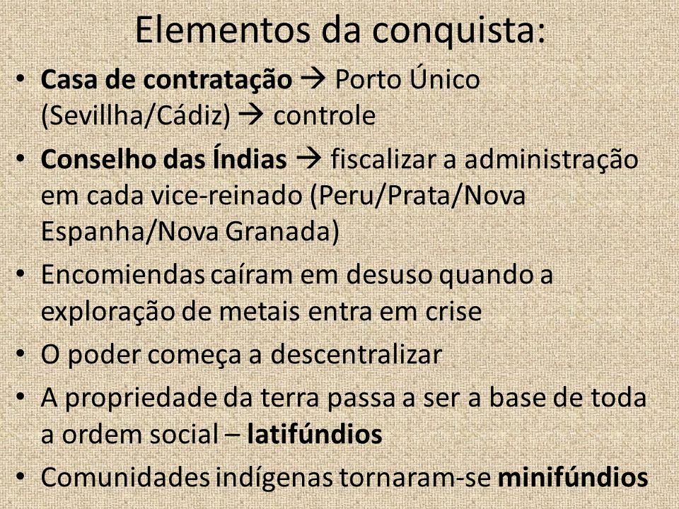 Elementos da conquista: Casa de contratação Porto Único (Sevillha/Cádiz) controle Conselho das Índias fiscalizar a administração em cada vice-reinado