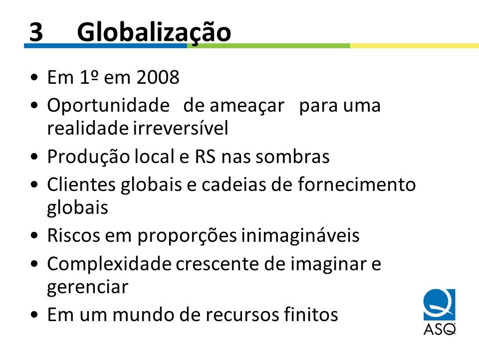 3 Globalização Em 1º em 2008 Oportunidade de ameaçar para uma realidade irreversível Produção local e RS nas sombras Clientes globais e cadeias de for