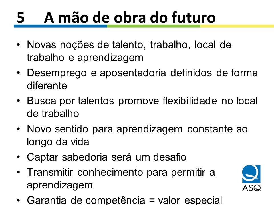 5 A mão de obra do futuro Novas noções de talento, trabalho, local de trabalho e aprendizagem Desemprego e aposentadoria definidos de forma diferente