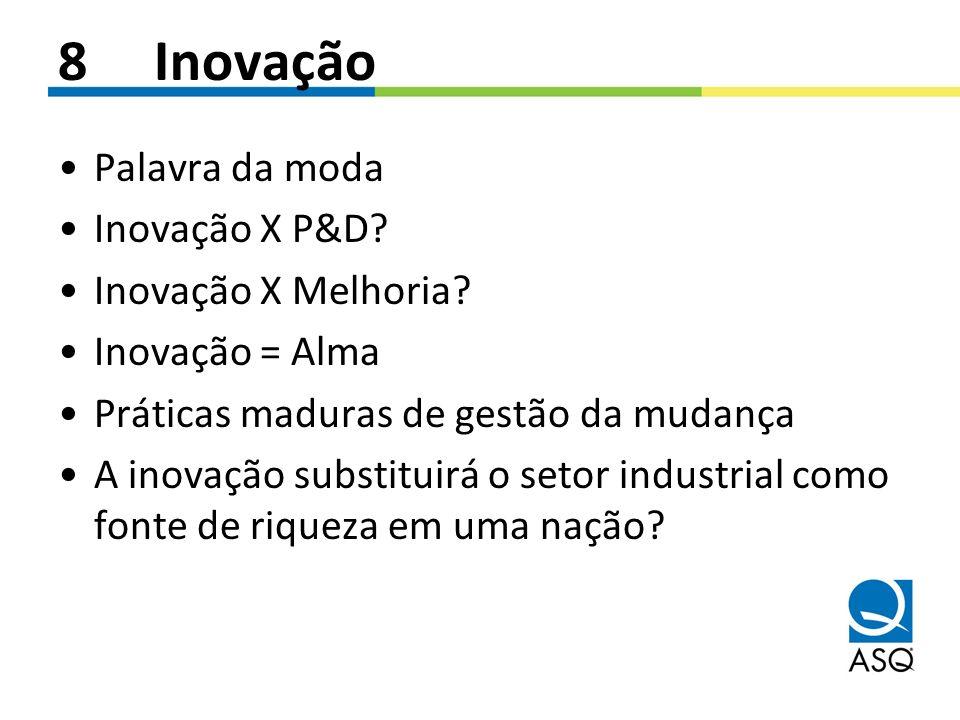 8Inovação Palavra da moda Inovação X P&D? Inovação X Melhoria? Inovação = Alma Práticas maduras de gestão da mudança A inovação substituirá o setor in