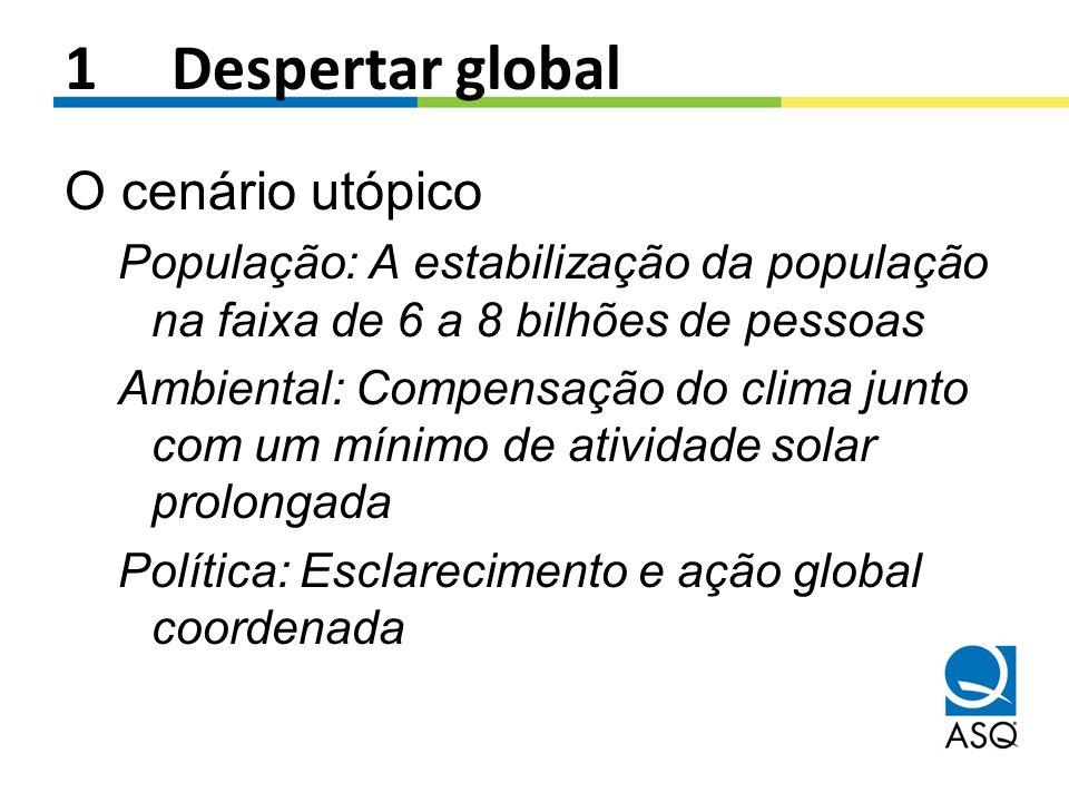 1Despertar global O cenário utópico População: A estabilização da população na faixa de 6 a 8 bilhões de pessoas Ambiental: Compensação do clima junto