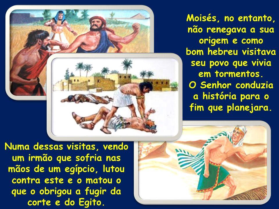 Moisés, no entanto, não renegava a sua origem e como bom hebreu visitava seu povo que vivia em tormentos. O Senhor conduzia a história para o fim que