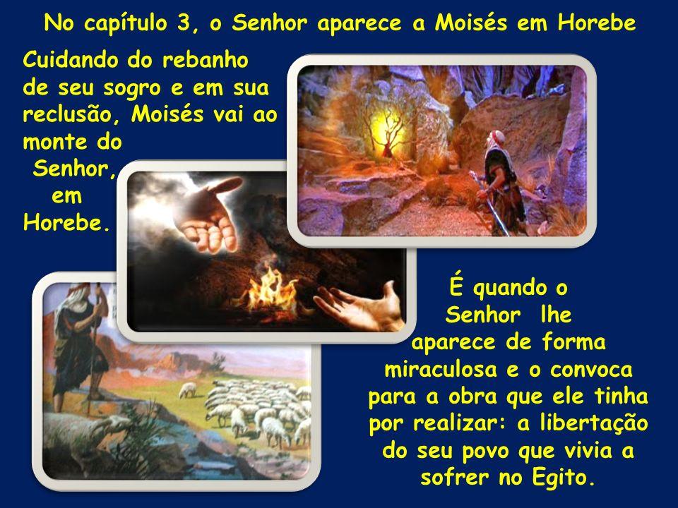 No capítulo 3, o Senhor aparece a Moisés em Horebe Cuidando do rebanho de seu sogro e em sua reclusão, Moisés vai ao monte do Senhor, em Horebe. É qua