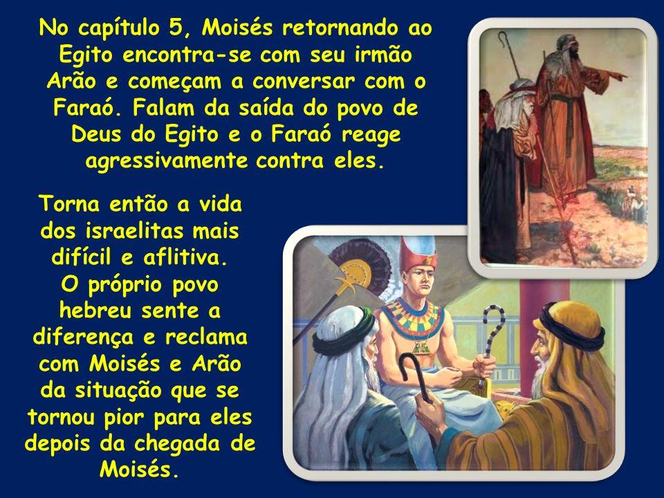 No capítulo 5, Moisés retornando ao Egito encontra-se com seu irmão Arão e começam a conversar com o Faraó. Falam da saída do povo de Deus do Egito e