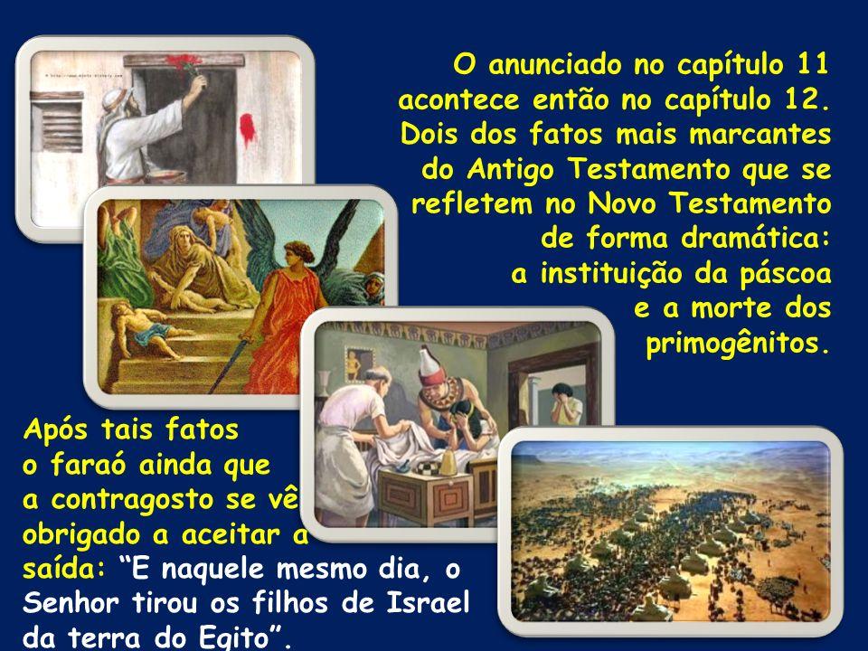 O anunciado no capítulo 11 acontece então no capítulo 12. Dois dos fatos mais marcantes do Antigo Testamento que se refletem no Novo Testamento de for