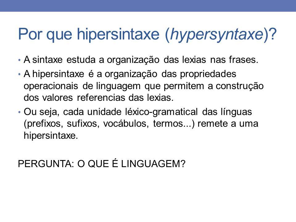 Por que hipersintaxe (hypersyntaxe)? A sintaxe estuda a organização das lexias nas frases. A hipersintaxe é a organização das propriedades operacionai