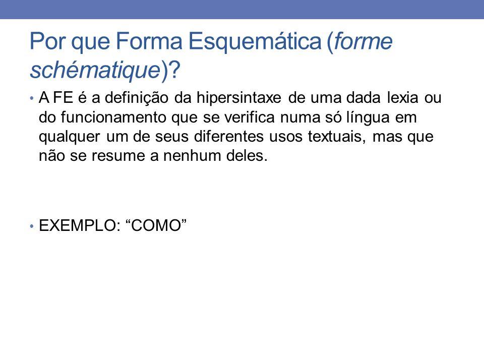 Por que Forma Esquemática (forme schématique)? A FE é a definição da hipersintaxe de uma dada lexia ou do funcionamento que se verifica numa só língua